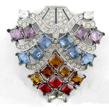 Giant ART DECO Multicolor Glass Stones Brooch Pin - Signed EISENBERG