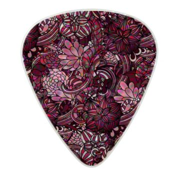 Pink Flower Pattern Pearl Celluloid Guitar Pick