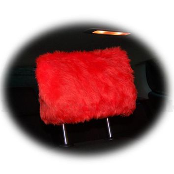 Racing Red fluffy faux fur car headrest covers 1 pair