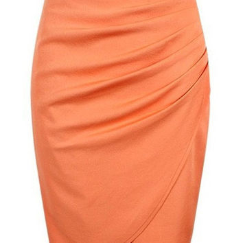 High Waist Ruched Wrap Mini Pencil Skirt