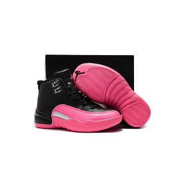 Kids Air Jordan 12 Retro Black/Pink Sport Shoe US 11C - 3Y