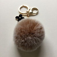 Brown fur pom pom keychain frosted REX Rabbit fur pom pom ball with flower bag charm