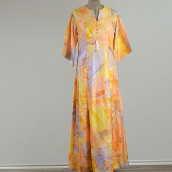 60's Vintage  Tori Richard Laui Kai Long Sleeve Maxi Dress Size 14