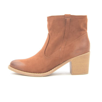 Chestnut Faux Suede Booties with Distressed Leather Heel and Toe