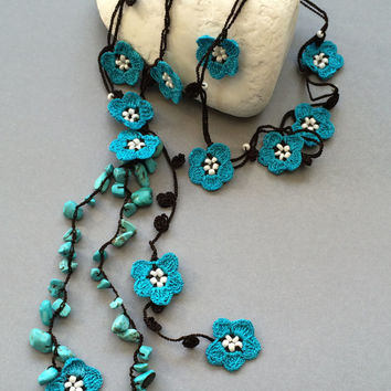 Turquoise Lariat Necklace, Oya Beaded Necklace, Blue Flower Crochet Jewelry, Christmas Gift, Boho Necklace, ReddApple, Gift Ideas for Her