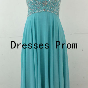 2014 long blue chiffon prom dresses with sequins,chic sweetheart corset back gowns for party,cheap homecoming dress under 120.