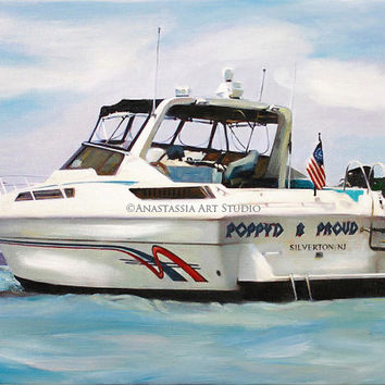 Boat Yacht Painting Portrait Custom Fine Art Oil Painting from Photo Ultimate Gift Idea