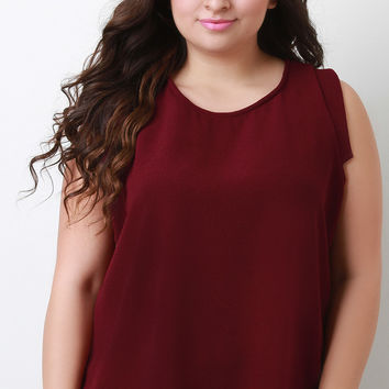 Plus Size Textured Chiffon Sleeveless Top