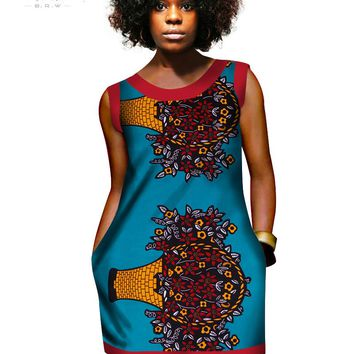 summer african wax dresses for women mini Dress Vest Printed Dashiki