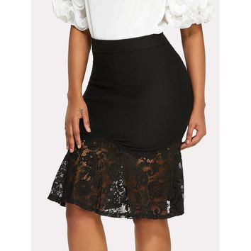 Lace Contrast Fishtail Skirt