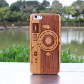 M9 Camera Real Cherry Wood Wooden Hard Cover Case for Iphone 6Plus
