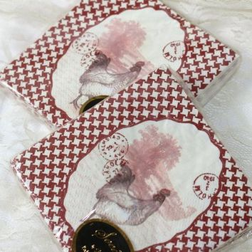 2 Sets Beverage Napkins Featuring Roosters and Postscripts Brown and Pink on Houndstooth Background | Farmhouse Decoupage Napkins 40