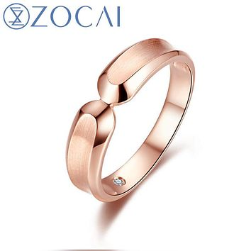 ZOCAI BRAND NATURAL 0.01 CT CERTIFIED I-J / SI DIAMOND MEN'S WEDDING BAND RING ROUND CUT 18K ROSE GOLD JEWELRY Q00558B