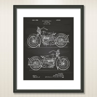 Harley davidson 1928 Patent Art Illustration - Drawing - Printable INSTANT DOWNLOAD - Get 5 colors background