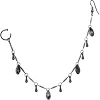 Handcrafted Black Gem Midnight Drops Ear to Nose Chain MADE WITH SWAROVSKI ELEMENTS | Body Candy Body Jewelry