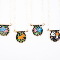 Colorful Vintage Medallion Necklace, Unique Vintage Red and White Necklaces, Shield Floral Cloisonne Jewelry, Black Necklaces
