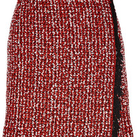 Lanvin - Wrap-effect cotton-blend tweed mini skirt
