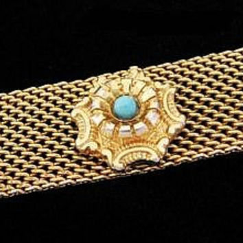"Art Deco Gold Mesh Bracelet Turquoise Blue Cabochons Panter Link Style Chunky 1"" W Vintage"