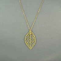 Gold Leaf Necklace, 14K Gold Filled Chain, Simple, Pretty, Everyday Jewelry