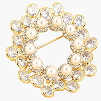 Pearl and Rhinestone Circular Brooch