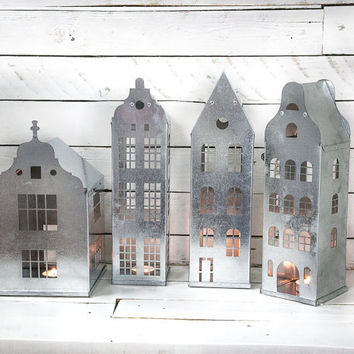 Candle holders Tin houses SET of 4 tin houses with industrial nordic styling for your home weddings christmas or theme parties