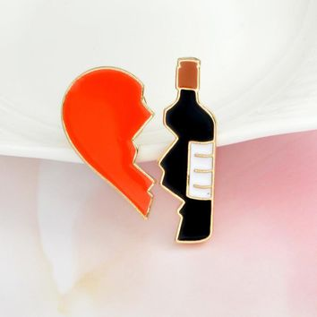 yiustar 2pcs set Broken heart and Red wine bottle Metal Brooch Pins DIY Sweater Pin Badge Gift Jewelry for women