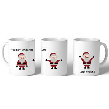 Holiday Workout Santa  Mug Christmas Gift Idea Cute Ceramic Mugs