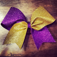gold and purple glitter cheer bow