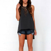 Sexy Women Retro Hollow Tank Tops Vest Top Sleeveless Casual Loose Shirt