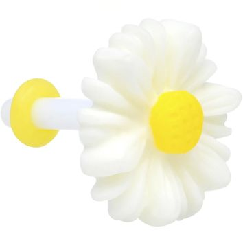 12 Gauge White Acrylic White Daisy Flower Single Flare Plug