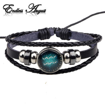 Fashion Buckles 12 Zodiac Signs Bracelets & Bangles Handmade Vintage Punk Leather Bracelet For Men Women Charm Jewelry