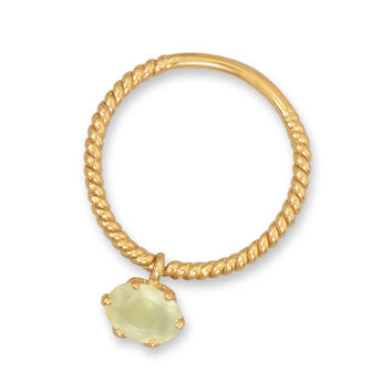 14 Karat Gold Plated Prehnite Charm Ring