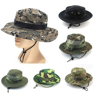 Unisex Casual Camouflage Bucket Hat With String Summer Men Women Fisherman Cap Military Panama Safari Boonie Sun Hats Cap