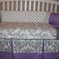 Damask and Polka Dot 5 Piece Crib Bedding Set