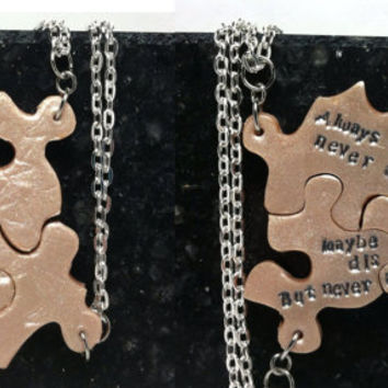 Puzzle Piece Interlocking Polymer Clay Necklaces 3 Piece Set  Always Together saying 243