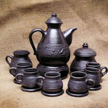 Earthenware. Ceramics Set. Wedding Gift In Rustic Ethnic Style. Black Clay.Unique Housewarming Gift Ideas By Three Snails. Free Shipping!