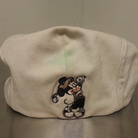 Vintage 90's Mickey Mouse Size Large Golf Cap Newsboy Cabbie Dad Hat Cream Khaki Walt Disney World Golf Course