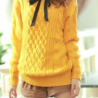 Preppy Mannerism Cable and Lattice Knit Sweater in Mustard  | Sincerely Sweet Boutique