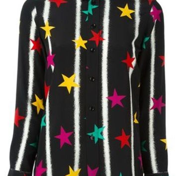 CREYONJF Saint Laurent Paris Collar Star Print Shirt - Farfetch