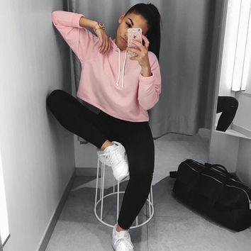 Long Sleeve Sweatshirt Autumn Women Clothing Pullover Fashion Women Lady Clothes Tops Khaki Cropped Top Hoodie