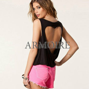 Sleeveless Round Neck Hollow Out Back Cotton Blend Loose Tank