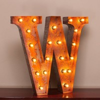 "24"" Letter W Lighted Vintage Marquee Letters with Screw-on Sockets"