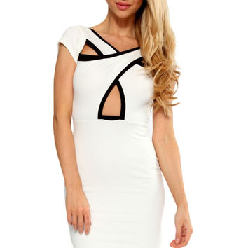 White Black Cross Over Front Bodycon Dress LAVELIQ