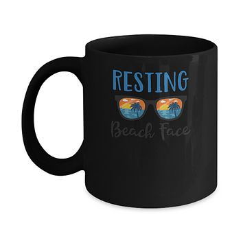 Resting Beach Face Summer With Sunglasses Mug