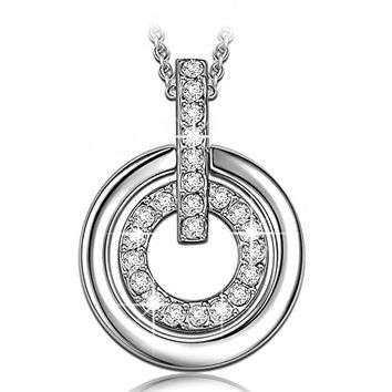 """""""Sisters Forever"""" Circle Engraved Pendant Necklace, Made With Swarovski Crystals"""