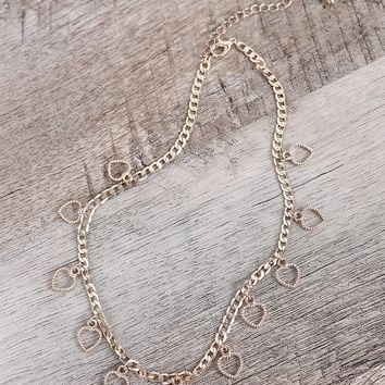 Heart Charm Curb Link Chain Necklace