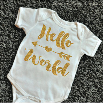 Hello World Take Home Outfit Newborn Hello World Bodysuit Hello World Baby Girl Clothes Baby Shower Gift Newborn Outfit 091