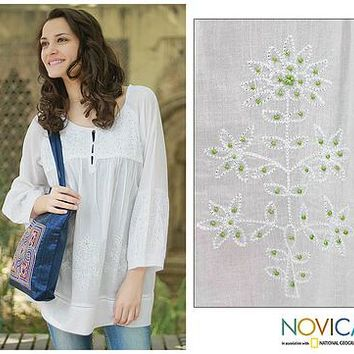 Hand Made Indian Floral Cotton Embroidered Tunic Top - Romantic White | NOVICA