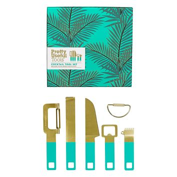 WILD AND WOLF PRETTY USEFUL TOOLS COCKTAIL TOOL SET, TROPICAL TOPAZ