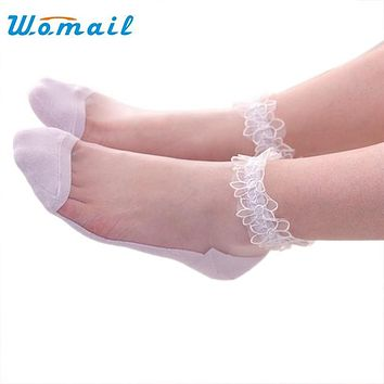 Womail Women Lace Ruffle Ankle Sock Soft Ultrathin Elastic Mesh Trim Transparent Socks meias 2017  Gift 1pair